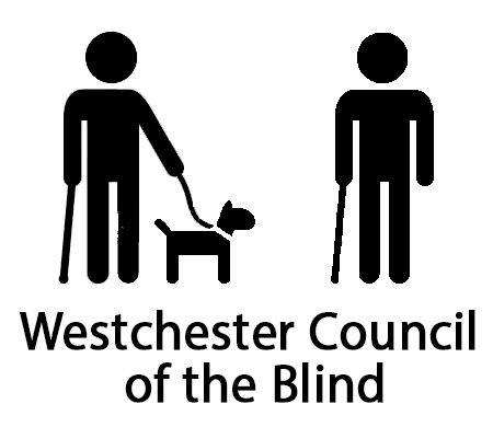 Website logo of a person using a cane and a person using a guide dog with the text Westchester Council of the Blind