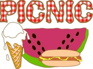The word PICNIC in red and white. On the bottom a Cartoon drawing of a vanilla ice cream cone melting, watermelon slice and a hot dog on a bun